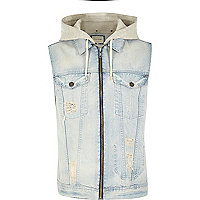 Blue acid wash denim sleeveless hoodie gilet