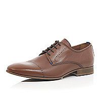 Brown leather formal embossed shoes