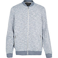 Navy flecked casual bomber jacket