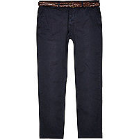Blue cotton slim chinos