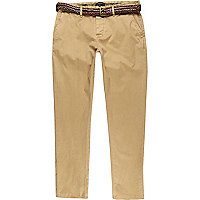 Tan slim belted chinos