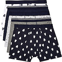 Navy heard print boxer shorts pack