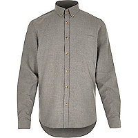 Grey long sleeve flannel shirt