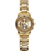 Gold tone triple dial bracelet watch