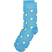 Blue fried egg print socks