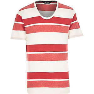 Red Only & Sons stripe scoop neck t-shirt