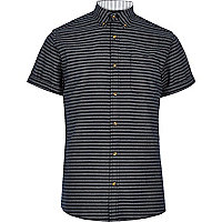 Navy Only & Sons short sleeve stripe shirt