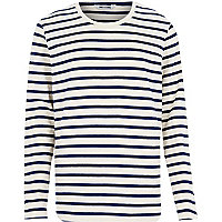 Navy Only & Sons stripe long sleeve t-shirt