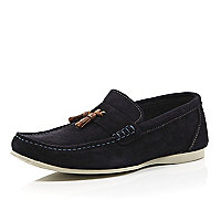 Navy tassel rubber sole driver shoes