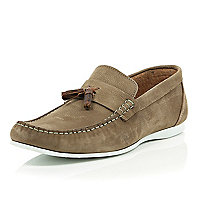 Stone tassel rubber sole casual loafers