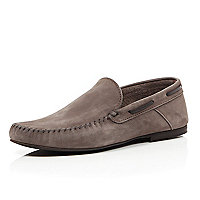 Stone nubuck smart loafers