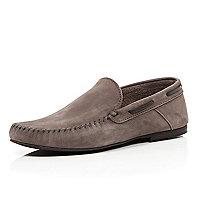 Stone nubuck smart loafers
