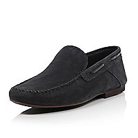 Navy nubuck smart loafers