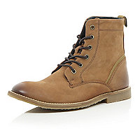 Brown nubuck lace up boots