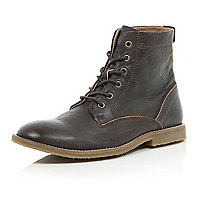 Dark brown leather lace up boots