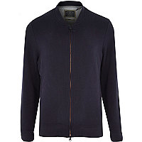 Navy Holloway Road lined bomber jacket