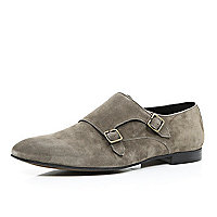 Grey suede double monk strap shoes