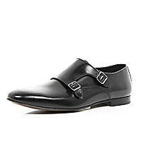 Black leather double monk strap shoes