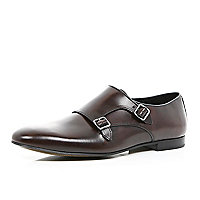 Dark red leather double monk strap shoes
