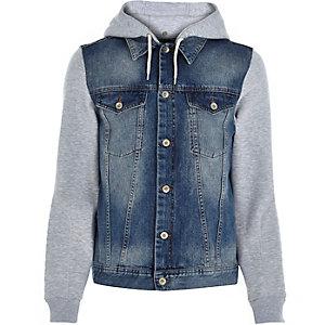 Denim casual hoodie jacket