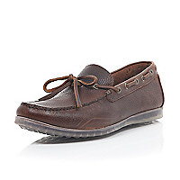 Brown leather translucent sole driving shoes