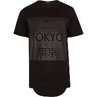 Black Tokyo print curved hem t-shirt