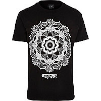 Black New Love Club Arabic flower t-shirt