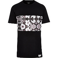 Black New Love Club floral panel t-shirt
