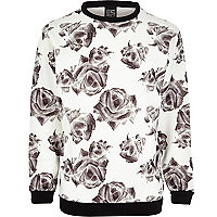 White New Love Club rose print sweatshirt