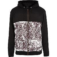 Black New Love Club contrast print hoodie