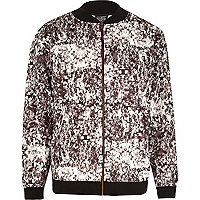 Black New Love Club print bomber jacket