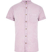 Pink acid wash grandad Oxford shirt