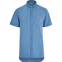 Blue washed short sleeve Oxford shirt