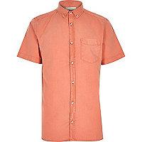 Orange washed short sleeve Oxford shirt