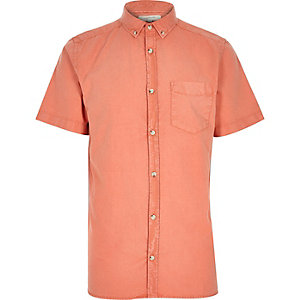 Orange washed short sleeve Oxford shirt