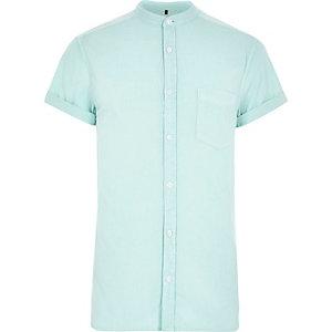 Green acid wash grandad Oxford shirt