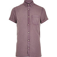 Purple washed short sleeve Oxford shirt