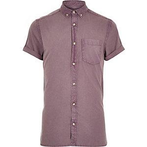 Purple washed short sleeve Oxford shirt