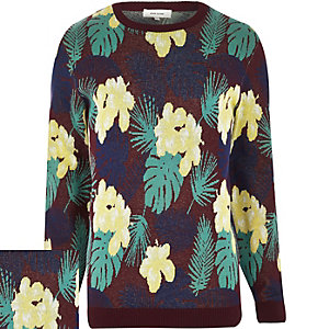 Red Hawaiian floral print jumper