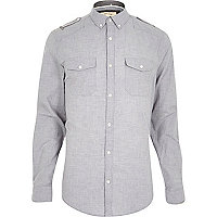 Grey melange military long sleeve shirt
