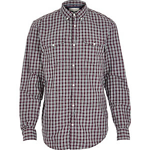 Dark red military check long sleeve shirt