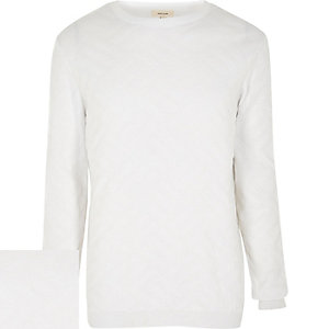 White textured knitted jumper