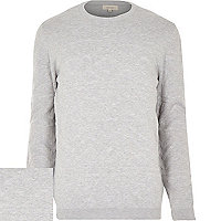 Grey woven stitch crew neck jumper