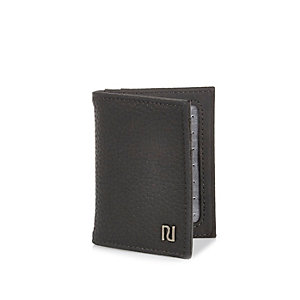 Grey pebbled card holder wallet