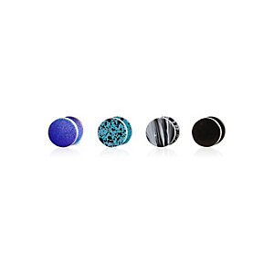 Blue Earrings Splat Mixed Plug Set