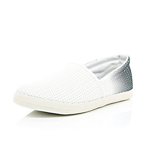 White ombre mesh slip on plimsolls