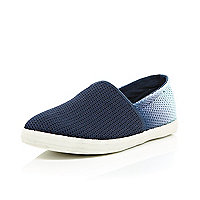 Navy ombre mesh slip on plimsolls