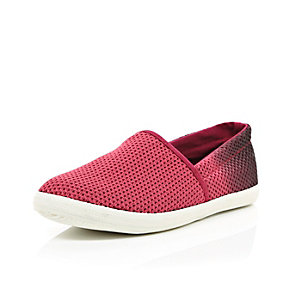 Red ombre mesh slip on plimsolls