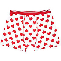 White heart print boxer shorts
