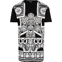 Black Jaded printed longer length t-shirt
